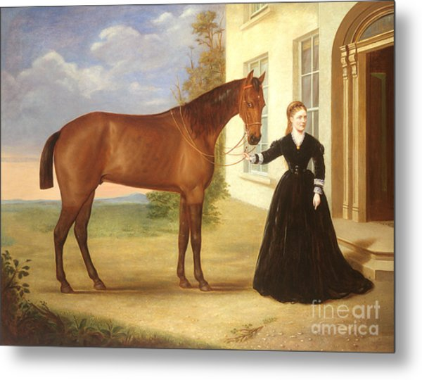 Portrait Of A Lady With Her Horse Metal Print