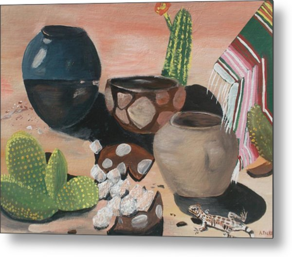 Pottery In The Desert Metal Print