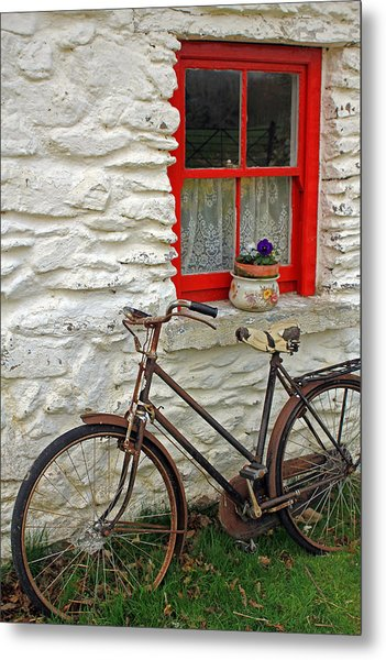 Red Window Metal Print