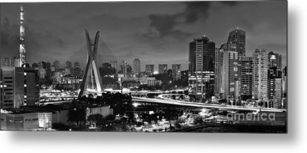 Sao Paulo Iconic Skyline - Cable-stayed Bridge - Ponte Estaiada Metal Print