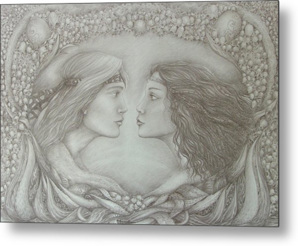 Spring Lovers With Snowdrops Metal Print