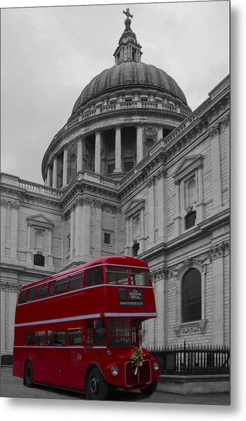 St Pauls Cathedral Red Bus Metal Print