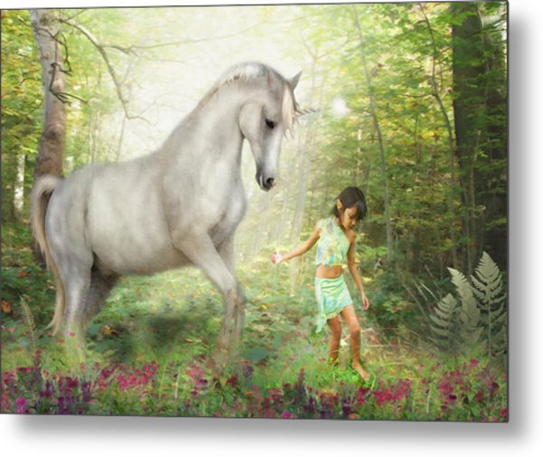 Stella And The Unicorn Metal Print