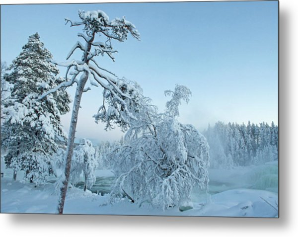 Magic Blue  Storforsen Waterfall  Metal Print