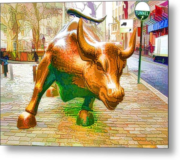 The Landmark Charging Bull In Lower Manhattan  Metal Print
