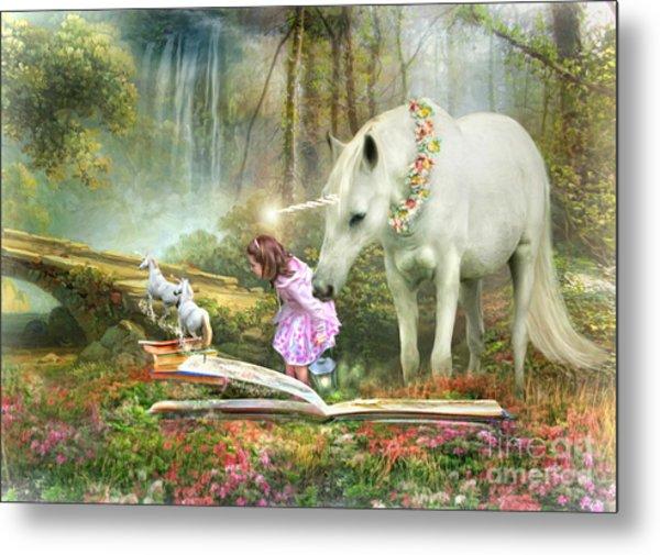 The Unicorn Book Of Magic Metal Print