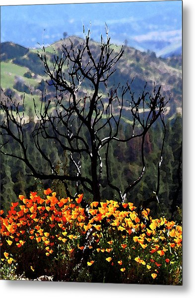 Tree And Poppies Metal Print