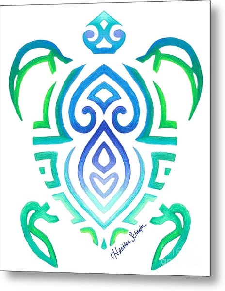 Tribal Turtle Metal Print