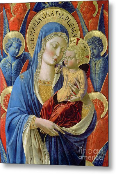 Virgin And Child With Angels Metal Print