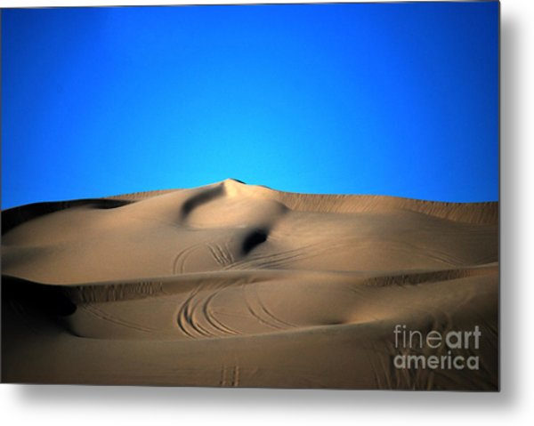 Yuma Dunes Number One Bright Blue And Tan Metal Print
