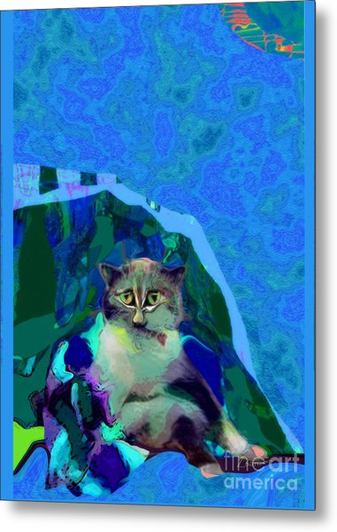 007 The Under Covers Cat Metal Print