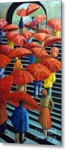 01149 Climbing Umbrellas Metal Print