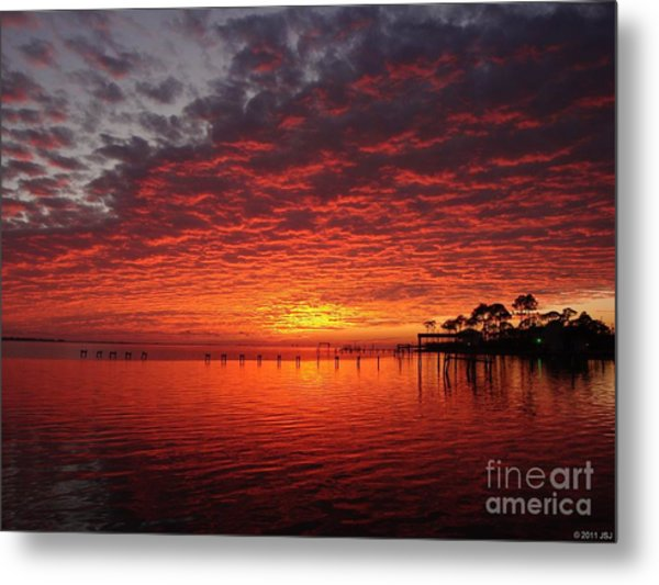 0205 Awesome Sunset Colors On Santa Rosa Sound Metal Print