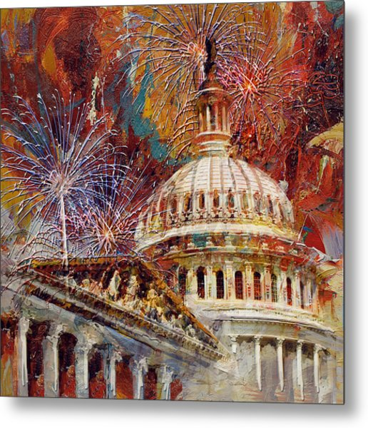 070 United States Capitol Building - Us Independence Day Celebration Fireworks Metal Print
