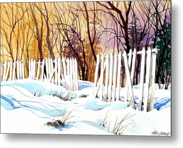 Fenced In Frost Metal Print by Art Scholz