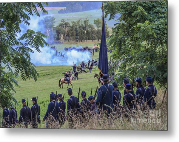 Gettysburg Union Artillery And Infantry 7457c Metal Print