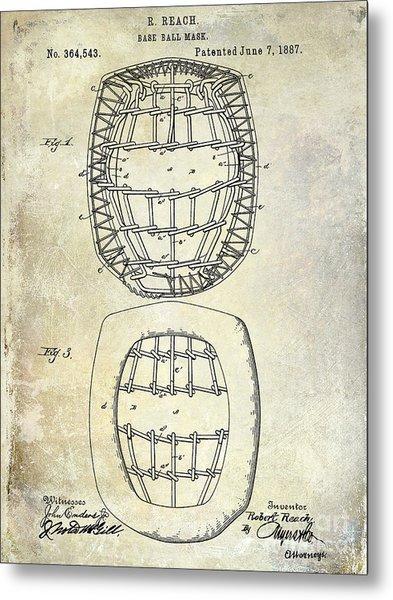 1887 Baseball Mask Patent Metal Print