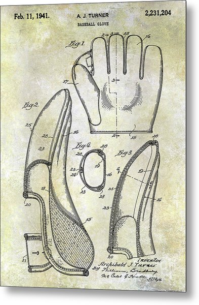 1941 Baseball Glove Patent Metal Print