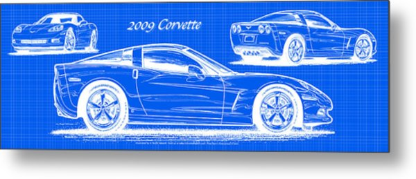2009 C6 Corvette Blueprint Metal Print