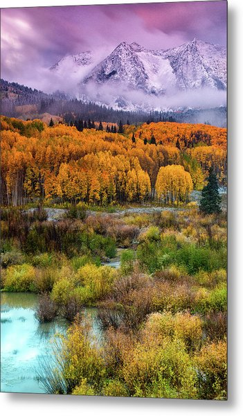 A Fall Snow At Sunrise Metal Print