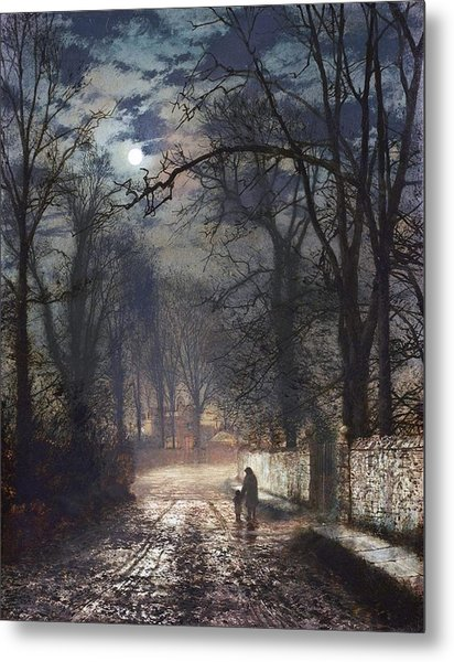 A Moonlit Lane Metal Print