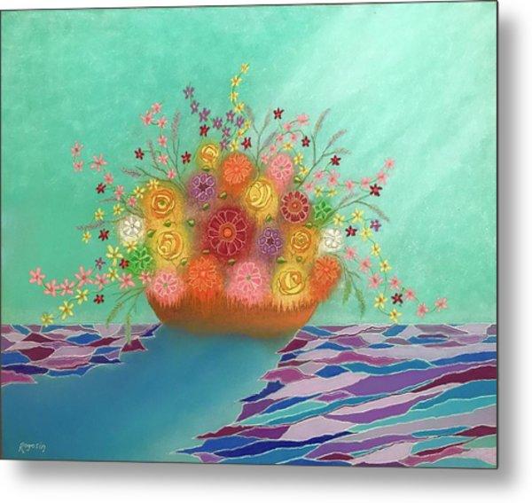 A Vase Of Flowers Iv Metal Print by Harvey Rogosin