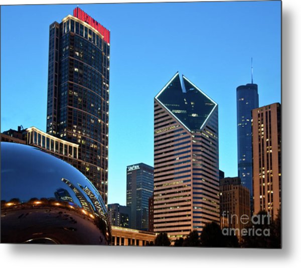 A View From Millenium Park At Dusk Metal Print