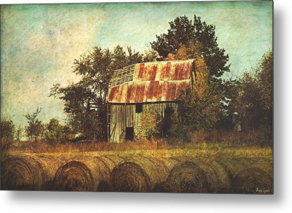 Abandoned Countryside Barn And Hay Rolls Metal Print