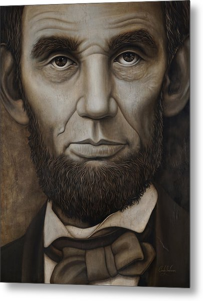 Abraham Lincoln On Wood Metal Print