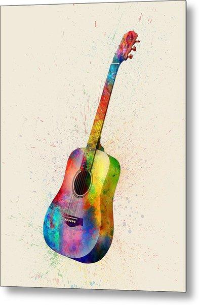 Acoustic Guitar Abstract Watercolor Metal Print