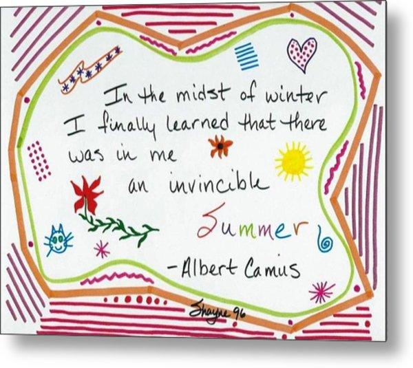 Albert Camus Doodle Quote Metal Print