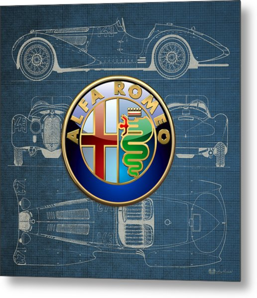 Alfa Romeo 3 D Badge Over 1938 Alfa Romeo 8 C 2900 B Vintage Blueprint Metal Print