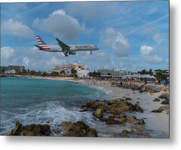 American Airlines Landing At St. Maarten Metal Print