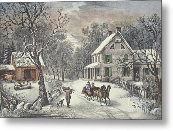 American Homestead   Winter Metal Print