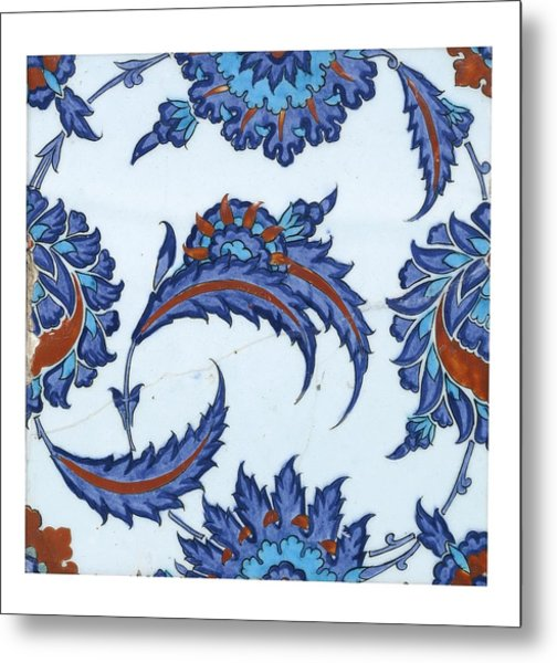 An Iznik Polychrome Pottery Tile Metal Print