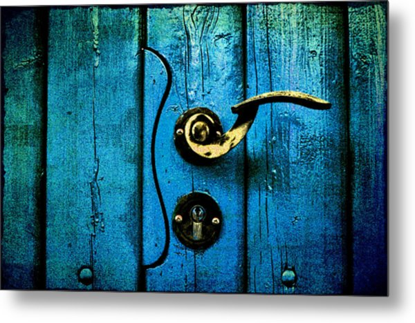 Ancient Blue Door Metal Print
