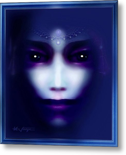 Metal Print featuring the painting Angel  Blue by Hartmut Jager
