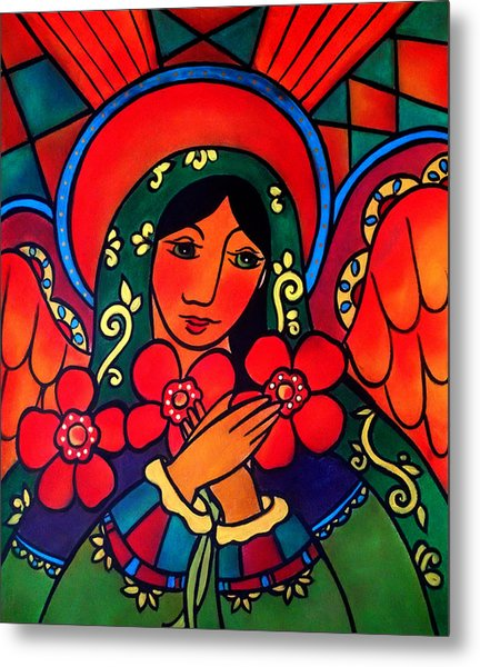 Metal Print featuring the painting Angel Of Peace by Jan Oliver-Schultz