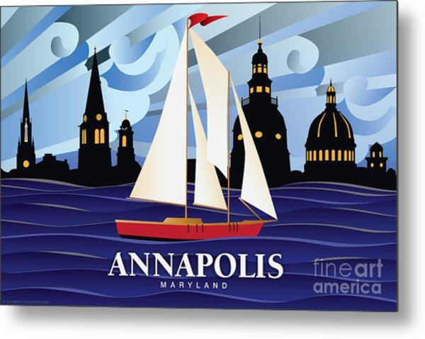 Annapolis Skyline Red Sail Boat Metal Print