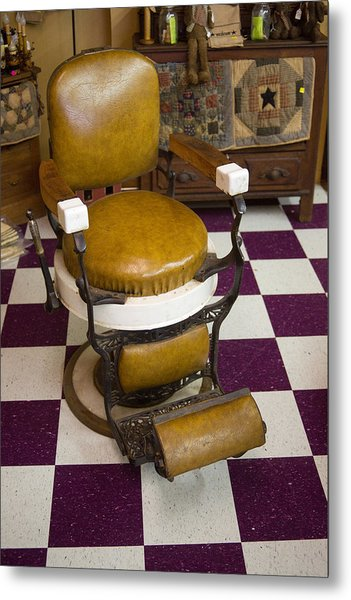 Antique Barber Chair 3 Metal Print