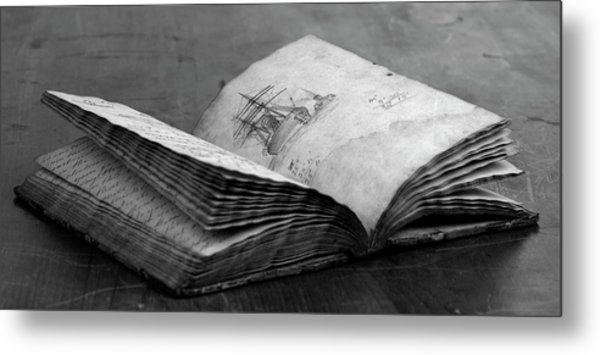 Antique Notebook Metal Print