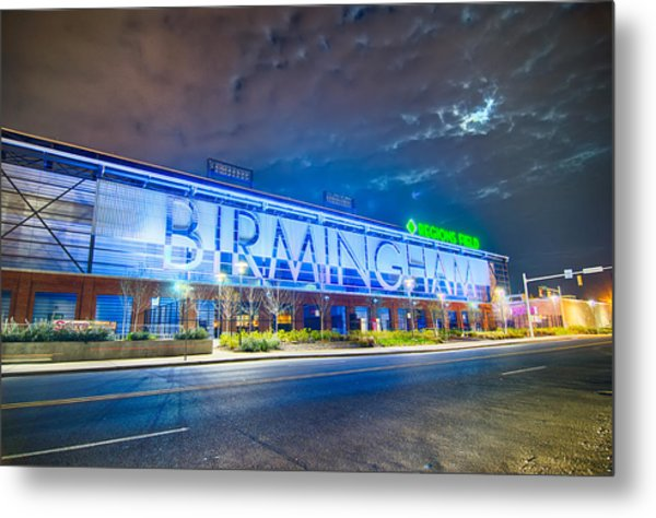 Metal Print featuring the photograph April 2015 - Birmingham Alabama Regions Field Minor League Baseb by Alex Grichenko