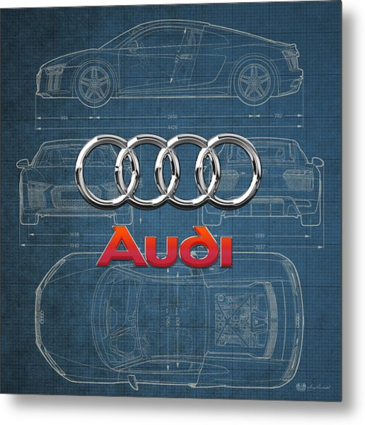 Audi 3 D Badge Over 2016 Audi R 8 Blueprint Metal Print