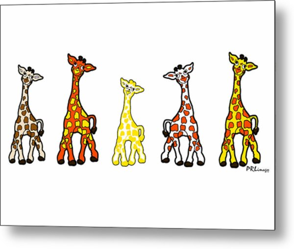 Baby Giraffes In A Row Metal Print