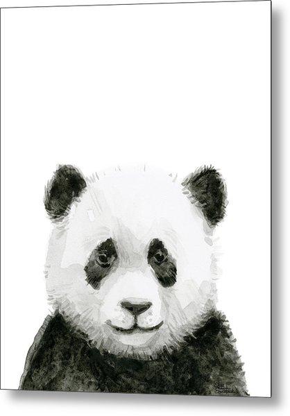 Baby Panda Watercolor Metal Print