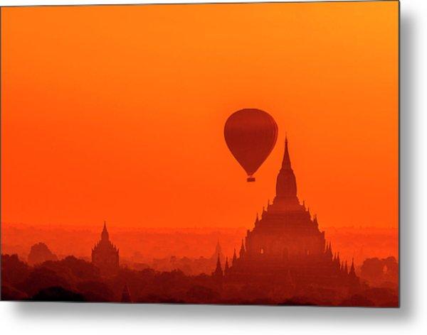 Bagan Pagodas And Hot Air Balloon Metal Print