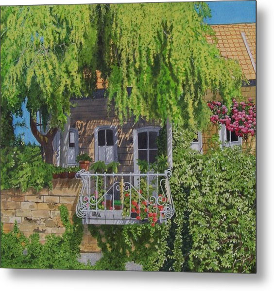 Balcony With Flowers Metal Print by Constance Drescher