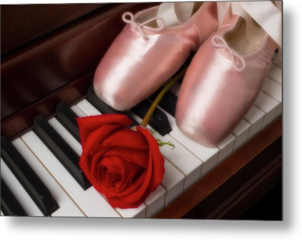 Ballet Shoes With Red Rose Metal Print