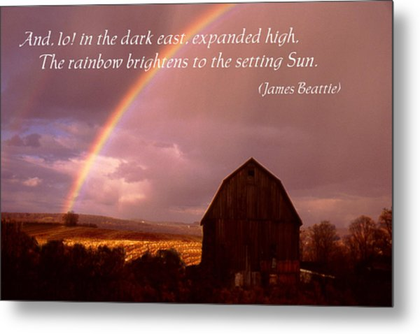 Barn And Rainbow Poster Metal Print by Roger Soule