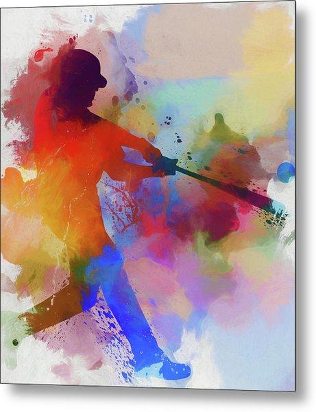 Baseball Player Paint Splatter Metal Print